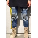 Men's Hot Fashion Pleated Patch Skinny Frayed Ripped Biker Jeans