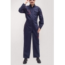New Stylish Long Sleeve Simple Plain Zip Up Navy Mechanic Coveralls for Men