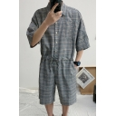 Unisex Summer Trendy Stylish Plaid Printed Button Down Drawstring Waist Chic Coveralls Rompers
