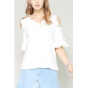 Womens Summer Simple Floral Embroidery Cold Shoulder V-Neck White Linen Blouse