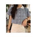 Girls Summer Fancy Plaid Print Short Sleeve Button Down Casual Crop Shirt