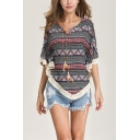 Womens Trendy Tribal Print Tied V-Neck Batwing Sleeve Tassel Hem Casual Loose Blouse Top