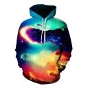 Fancy Galaxy Cloud 3D Printed Unisex Sport Loose Pullover Drawstring Hoodie