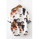 Funny Cartoon Figure Printed Lapel Collar Short Sleeve White Button Hawaiian Shirt