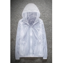 Mens Summer Trendy Ultra-Thin Breathable Sun Protection Transparent Zip Up Hooded Skin Jacket