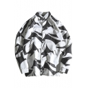 Guys Stylish Black and White Colorblock Long Sleeve Button Down Casual Shirt