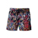 Mens Funny Comic Figure Print Drawstring Waist Loose Fit Beach Shorts