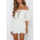 White Drawstring Waist Off Shoulder Crochet-Trimmed Short Sleeve Casual Loose Romper for Womens
