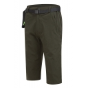Men's Popular Fashion Simple Plain Elastic Waist Zipped Pocket Outdoor Hiking Shorts