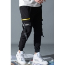 Men's Trendy Letter FASHION Ribbon Embellished Drawstring Waist Slim Fit Cotton Cargo Pants