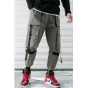Men's New Stylish Plain Ribbon Embellished Multi-pocket Casual Trendy Cargo Pants