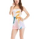 Summer Girls Hot Fashion Geometric Pattern Off Shoulder Strapless Casual Romper