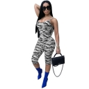 Womens Sexy Stylish Camo Printed Spaghetti Straps Sleeveless Skinny Fit Romper Jumpsuit