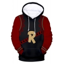 Simple Letter R Pattern Comic Black and Red Long Sleeve Loose Casual Drawstring Hoodie