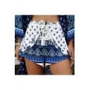 Summer Womens Boho Style Tied Waist Casual Tulip Shorts