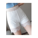 Womens Summer New Fashion Layered Chic Lace-Panel Fitted Safety Pants Under Shorts
