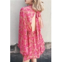 Hot Stylish Pink Floral Print Tie Back Tie Waist Open Back Flare Sleeves Beach Rompers