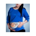 Trendy Pregnant Women Zipper Cartoon Print Round Neck Long Sleeve Plus Size Sweatshirt