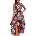 Womens Stylish Vintage Printed Gather Waist Asymmetric Hem Sleeveless Tank Dress