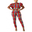 Womens Folk Style Tribal Print Round Neck Ruffle Sleeves Hot Sale Fitted Jumpsuits