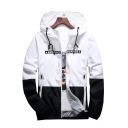 Mens Hot Popular Fashion Color Block Long Sleeve Zip Up Hooded Sport Jacket