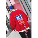 Guys Cool Street Letter COME HUSTLE Ribbon Tape Back Stand Collar Zip Up Casual Jacket