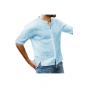 Mens Simple Solid Color Half Sleeve Button Front Casual Loose Shirt