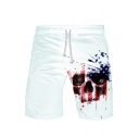 Popular Fashion Independence Day Skull Printed Drawstring Waist Cotton Sweat Shorts
