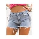 Womens Summer Trendy High Rise Frayed Hem Light Blue Denim Shorts