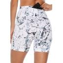 Cool Unique Zipper Pocket Back Fashion White Printed Sport Slim Leggings Shorts