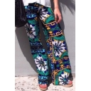 Summer Hot Stylish Green Tribal Print Leisure Straight Pants for Women
