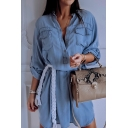 Summer Sexy Plunge V Neck Long Sleeve Waist-Tie Button Down Plain Mini Denim Dress