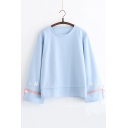 Girls Stylish Floral Embroidery Tied Cuff Long Sleeve Loose Fit Sweatshirt