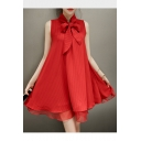 Summer Hot Sale Fashion Red Striped Print Bow-Tie Sleeveless Chiffon Flare Mini A-Line Dress