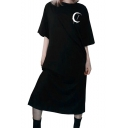 Womens Gothic Style Cool Black Moon Print Short Sleeve Maxi Oversize T-Shirt Dress