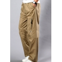 Men's Simple Fashion Solid Color Zipped Pocket Casual Loose Cotton Cargo Pants