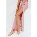 Summer Hot Fashion Pink Sexy Split Side Tie-Waist Silk Maxi-Skirt