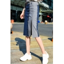 Summer Hot Stylish New Arrival Fitted Coloblock Patch Split Button Dwon Midi Penciled Skirt