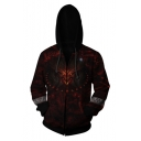 Popular Game Cosplay Costume Red Long Sleeve Zip Up Fitted Drawstring Hoodie