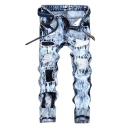 Men's Popular Fashion Light Blue Denim Washed Letter Embroidery Patched Trendy Jeans