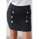Black Hot Stylish Button Down Black Check Print Wool Blends Mini Skirt for Women