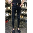 Guys New Fashion Letter P Embroidery Metal Rivet Embellished Slim Fit Black Ripped Jeans