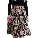 Summer Stylish Vintage Black High Waist Floral Print Flare Midi Skirt for Women