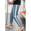 Guys Simple Fashion Colorblock Tape Side Casual Tapered Jeans
