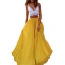 Womens Hot Popular Plain Elastic Waist Layer Flared Maxi Chiffon Skirt