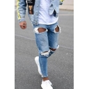 Men's New Fashion Light Blue Frayed Ripped Jeans with Holes
