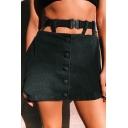 Summer Hot Stylish Black Cool Street Cutout Button Down Belt Detail Mini A-Line Skirt