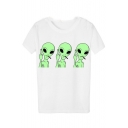 Summer Hot Fashion Cool Unique White Cartoon Print Short Sleeve Round Neck Casual Loose T-Shirts