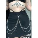 Summer Cool Street Hot Trendy Black High Waist Double Chain Embellished Skeleton Print A-Line Mini Skirt