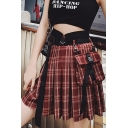 New Arrival Womens Red Check High Waist Ribbon Embellished Mini Pleated A-Line Skirt With Pocket